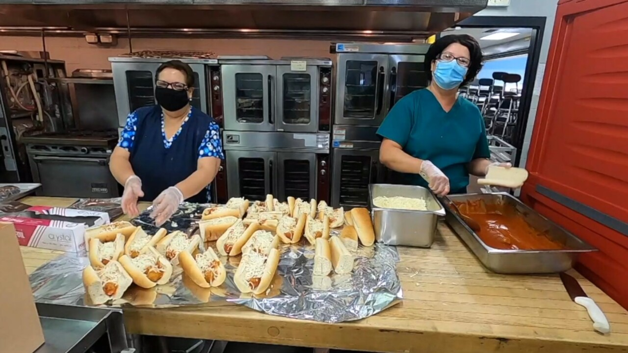 Cafeteria workers in Niagara Falls keep the lunches going