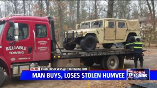 Veteran out $11,000 after purchasing stolen Humvee