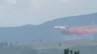 Air tanker drop on West Fork Fire