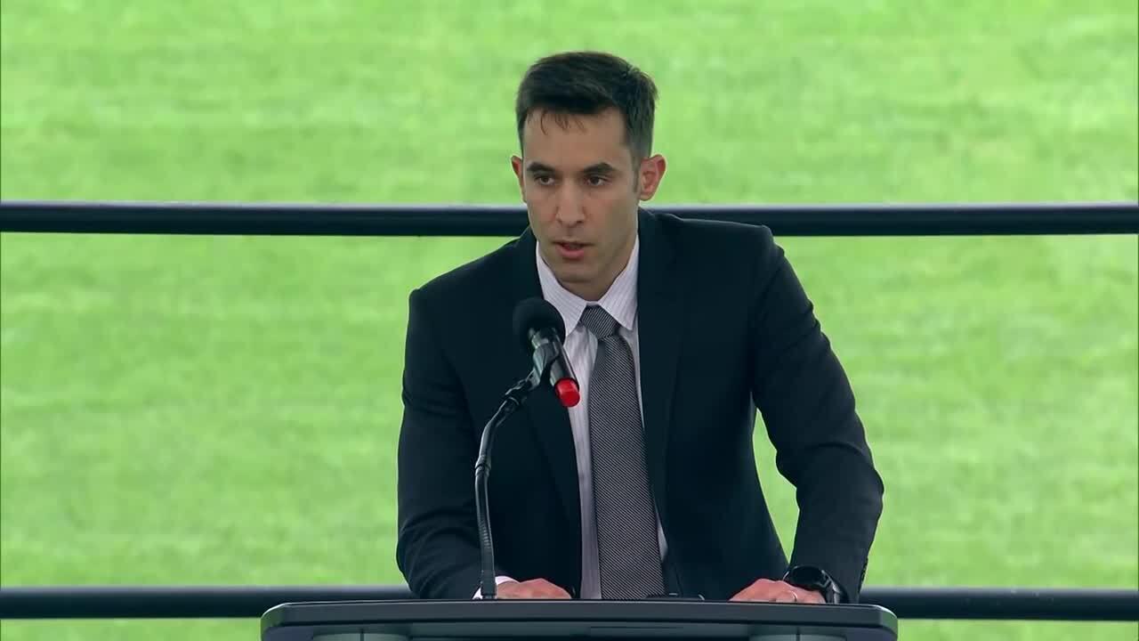 Denis Alfin speaks at memorial service for brother Daniel Alfin at Hard Rock Stadium, Feb. 7, 2021