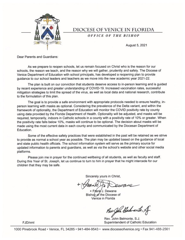 Diocese of Venice in Florida August letter for masks