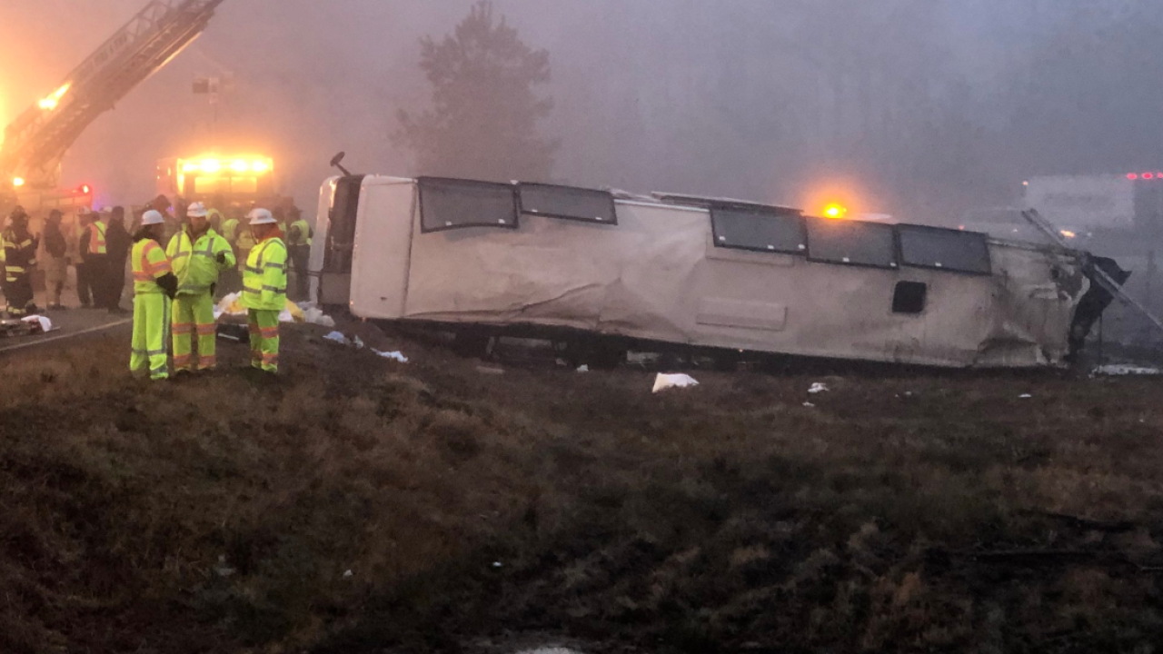 Two people dead, multiple injured in Virginia I-95 bus crash
