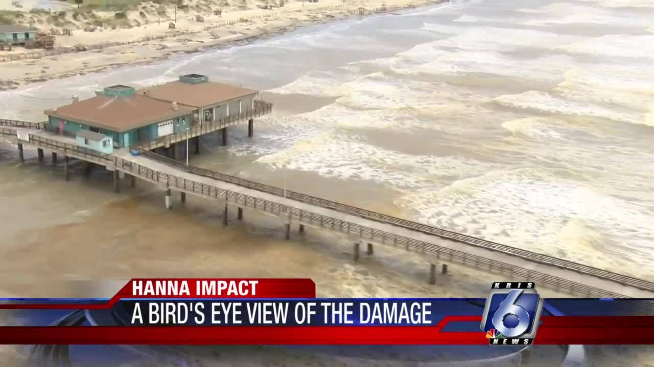 Helicopter inspection of Hanna's damage