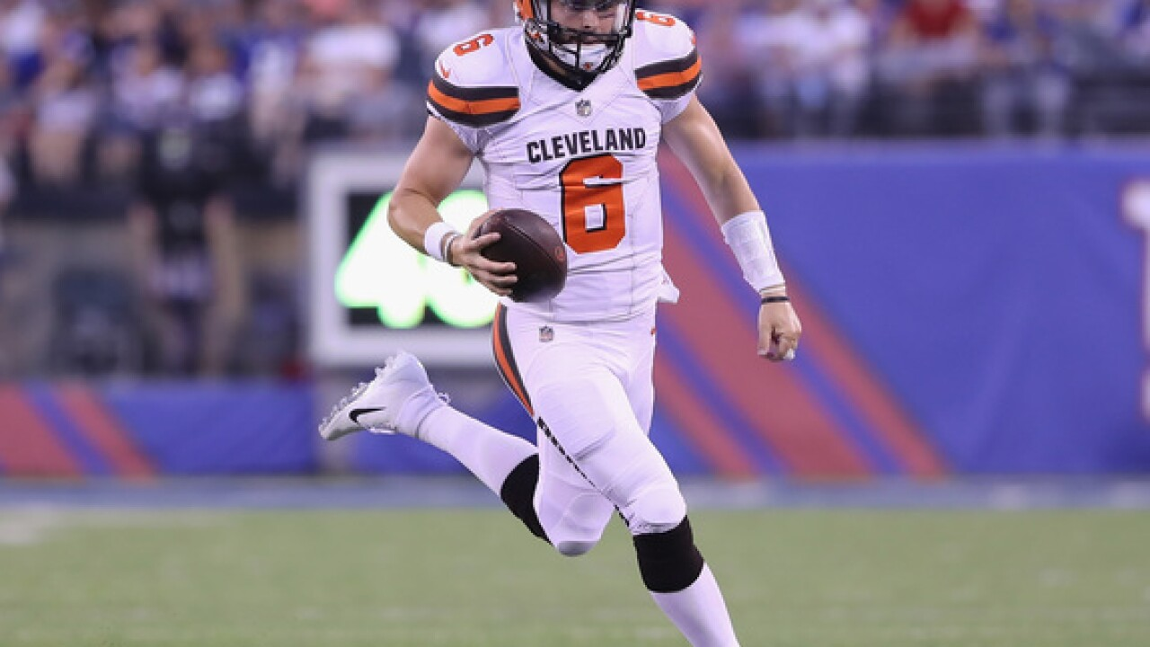 Mayfield shows the goods, Browns beat Giants 20-10