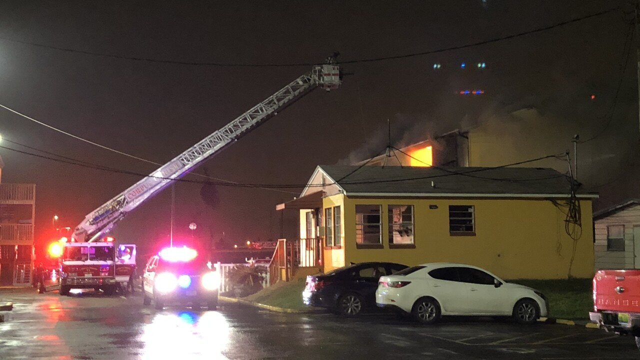 Knights Inn Motel caught flames this morning