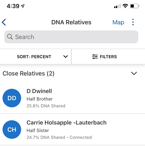 Unidentified half-sibling DNA matches discovered by 23andMe