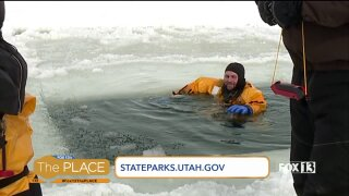 Jumping in for ice rescue training