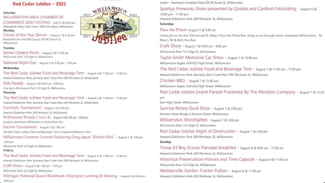 Red Cedar Jubilee Schedule