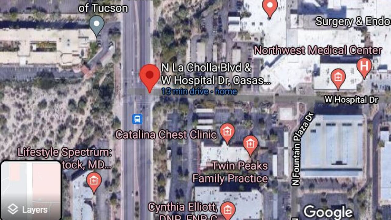 A two-vehicle wreck blocked traffic near La Cholla Blvd. and Hospital Drive Tuesday.