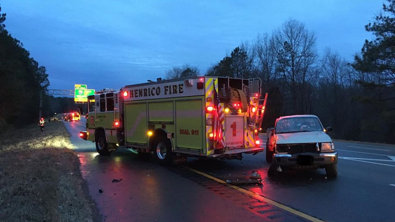 Driver injured after pickup crashes into Henrico firetruck working I-295 crash