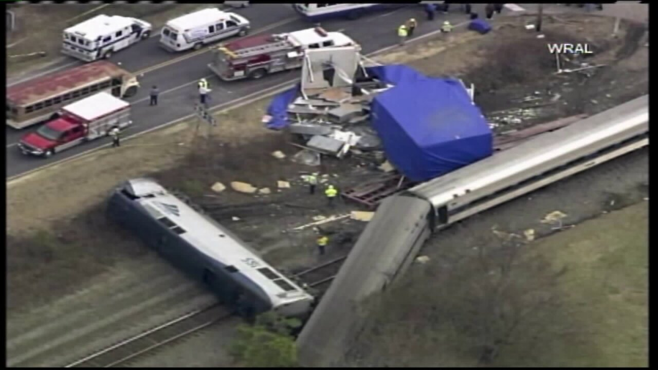 Virginia-bound Amtrak hits truck on tracks in North Carolina