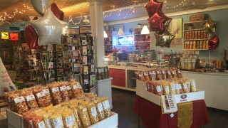 CW Fudge Factory's display of popcorn representing each team playing in Super Bowl LIV.