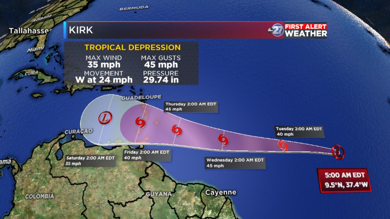 Tropical Depression Kirk advisory and forecast track (5:00am 09/24/2018)