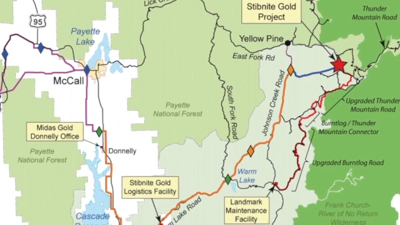 Map of Stibnite