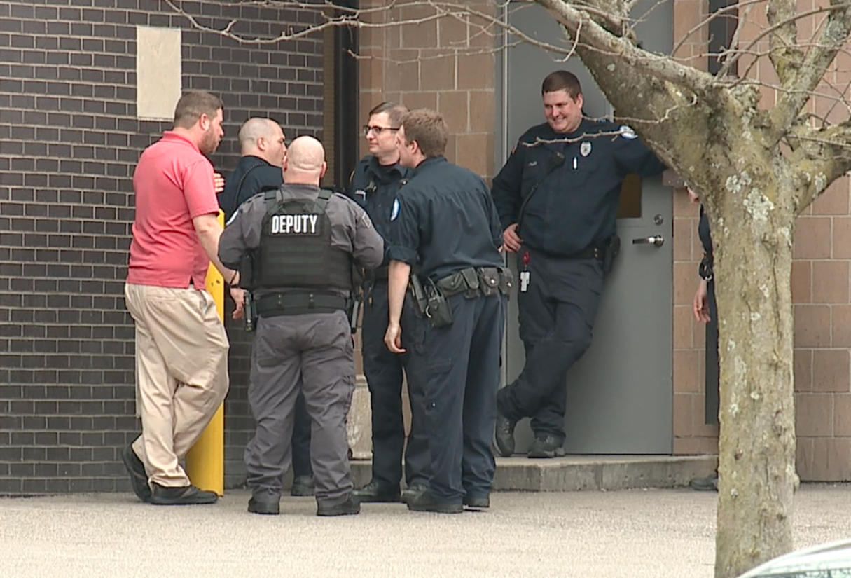 Corrections officers on a work break outside the Campbell County Detention Center