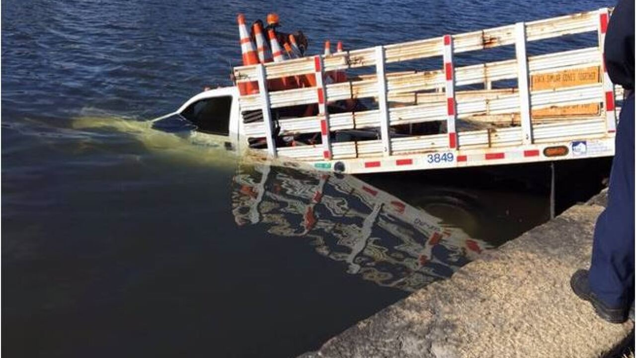 Public works truck crashes into water in Norfolk