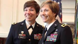 Maj. Gen. Maria Barrett and younger sister Brig. Gen. Paula Lodi became what the Army believes to be the first pair of sister generals.