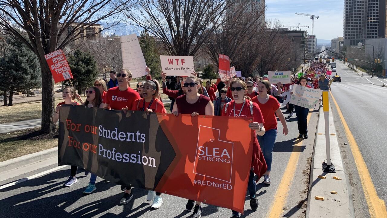 SLC Teacher's Union march