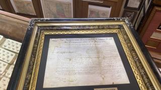 Historic document at Estes Park store