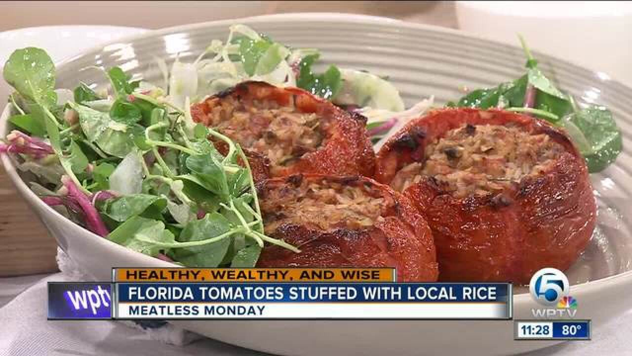 Florida tomatoes stuffed with local rice
