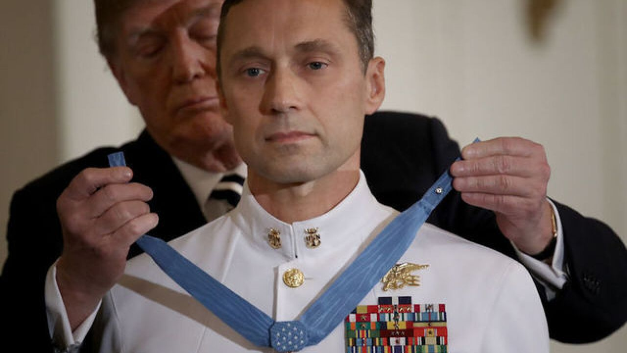 Trump presents the Medal of Honor to Navy SEAL Britt Slabinski