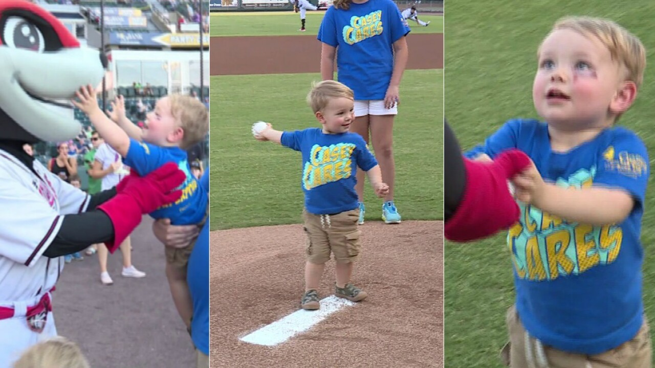 2-year-old boy throwing out first pitch 'celebrates everything he'sovercome'