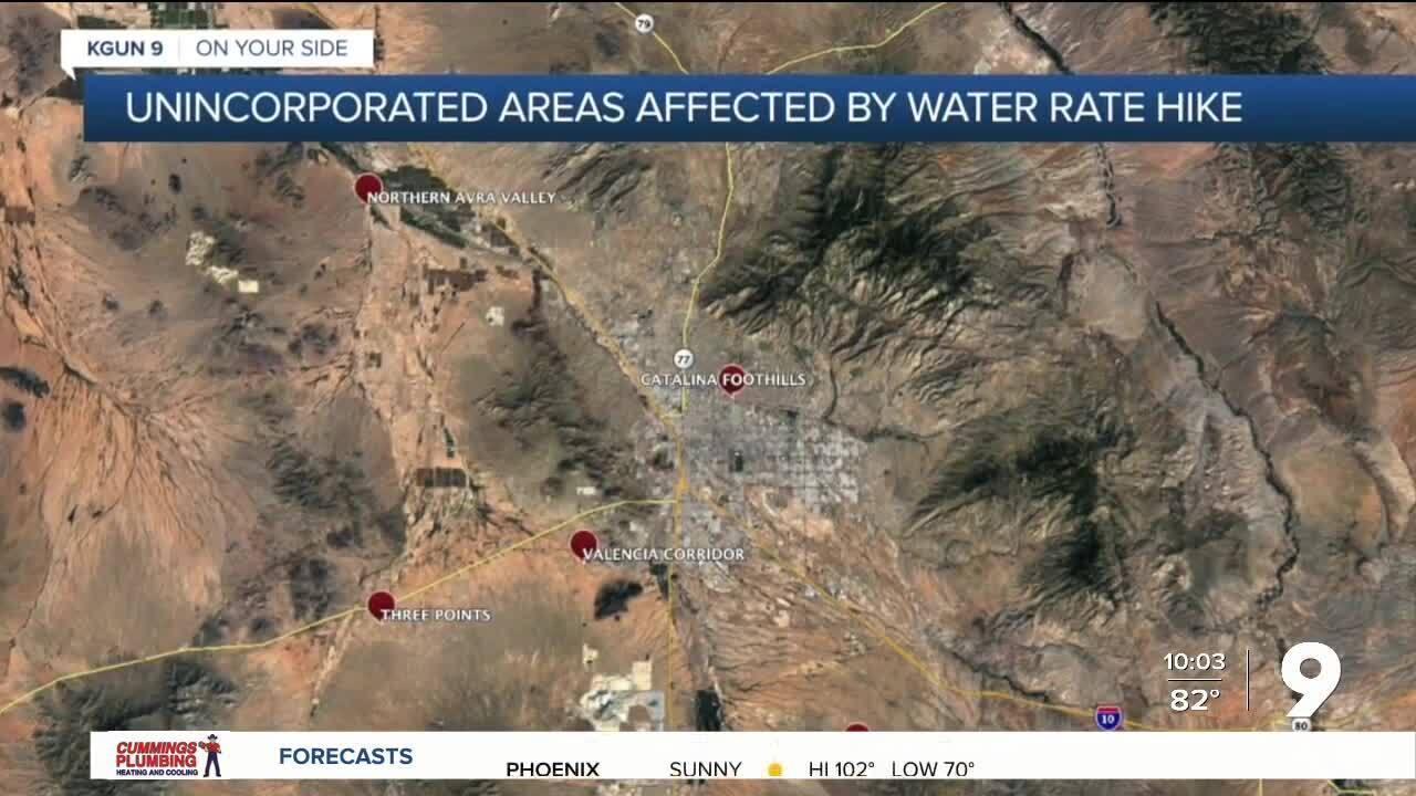 Areas impacted by Tucson Water rate hike
