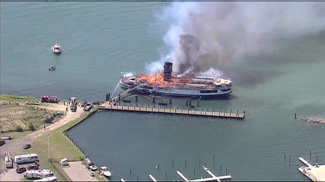 PHOTOS: Boblo Boat catches fire at Detroit marina on Detroit River