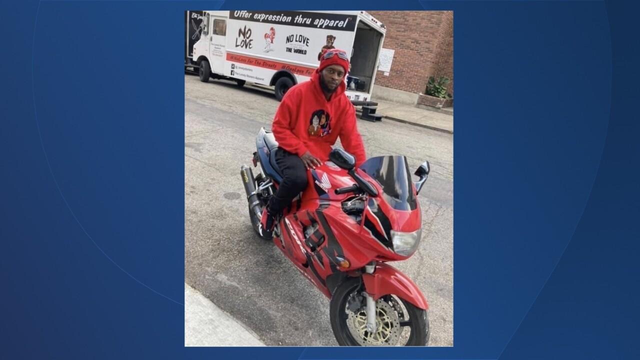 Mical Landrum on his motorcycle