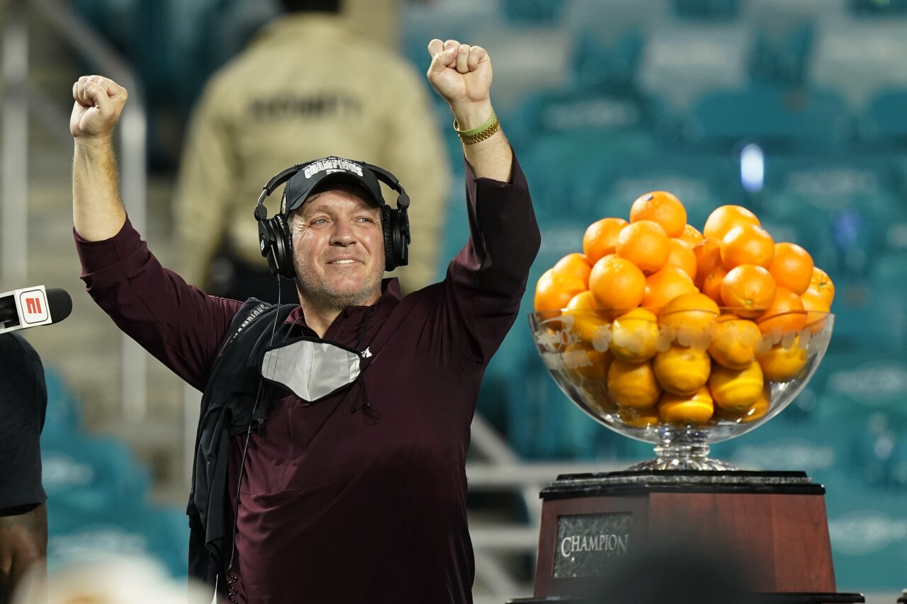 Texas A&M Aggies head coach Jimbo Fisher celebrates Orange Bowl victory
