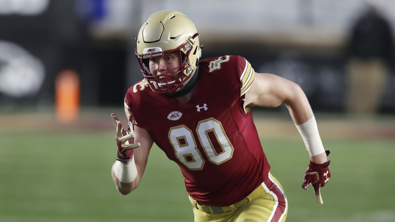 Boston College Eagles tight end Hunter Long in 2020