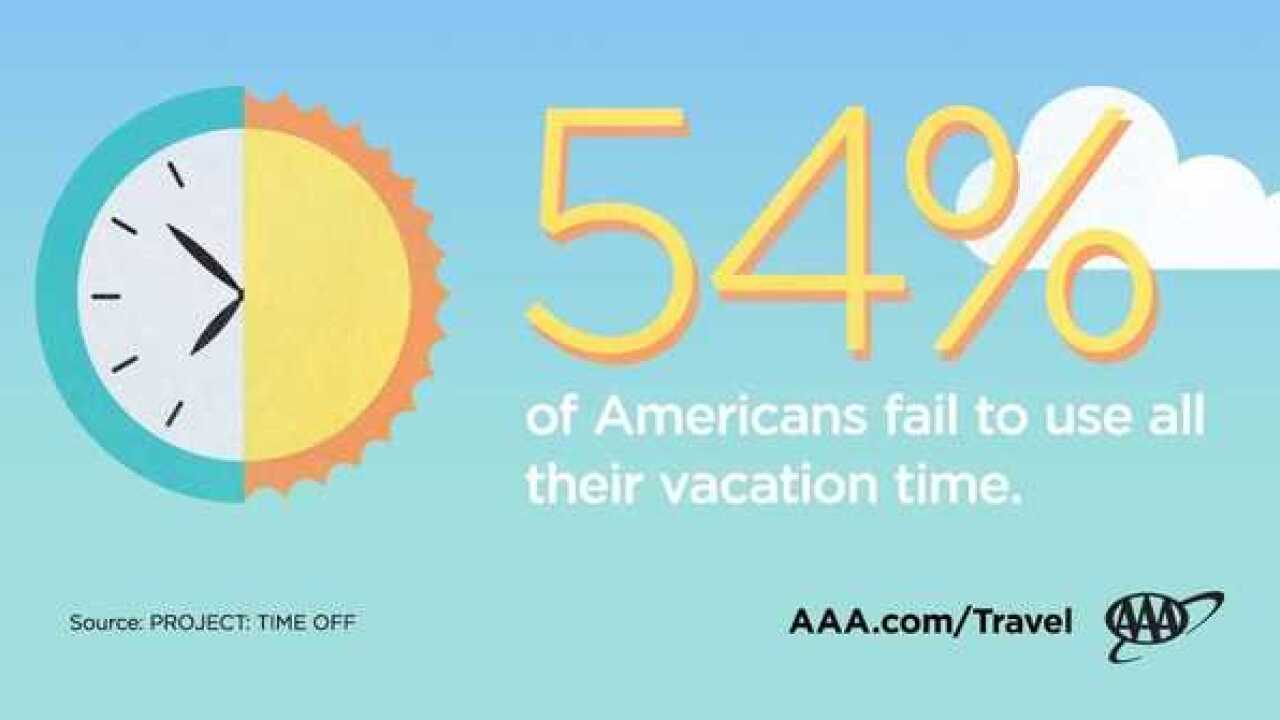 Report: 54% of Americans don't use all their vacation time