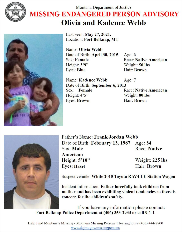 Missing-Endangered Person Advisory for Olivia and Kadence Webb