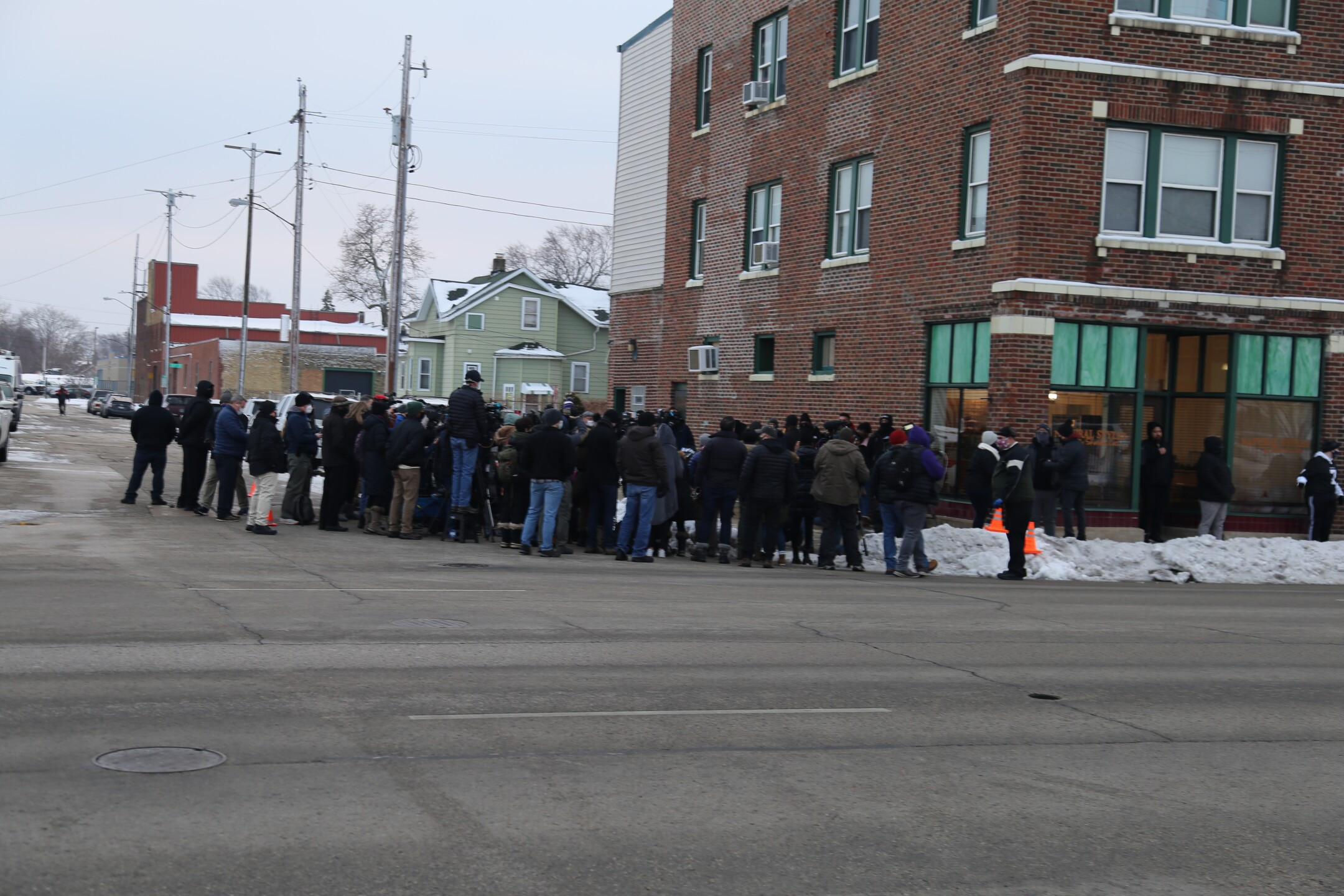 Crowd outside of the Blake Family press conference