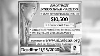 Soroptimist International of Helena announced over $10,000 in scholarships now available