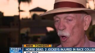 Horse dies, jockeys injured in Del Mar race collision