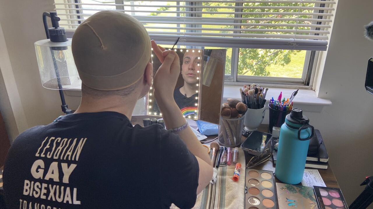 Matthew Groth transforms into Daphne W. York, a drag persona