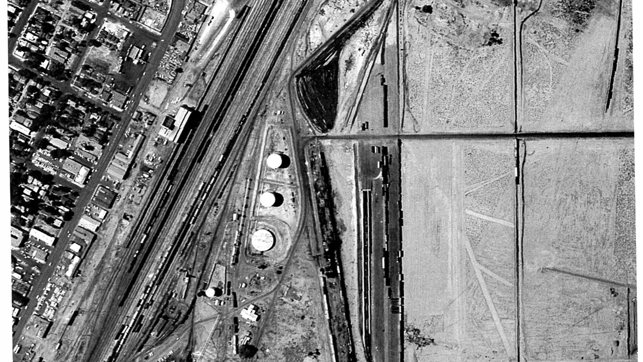 In this 1965 photo, the railyard operations were underway at what would become the future site of the Clark County Government Center.