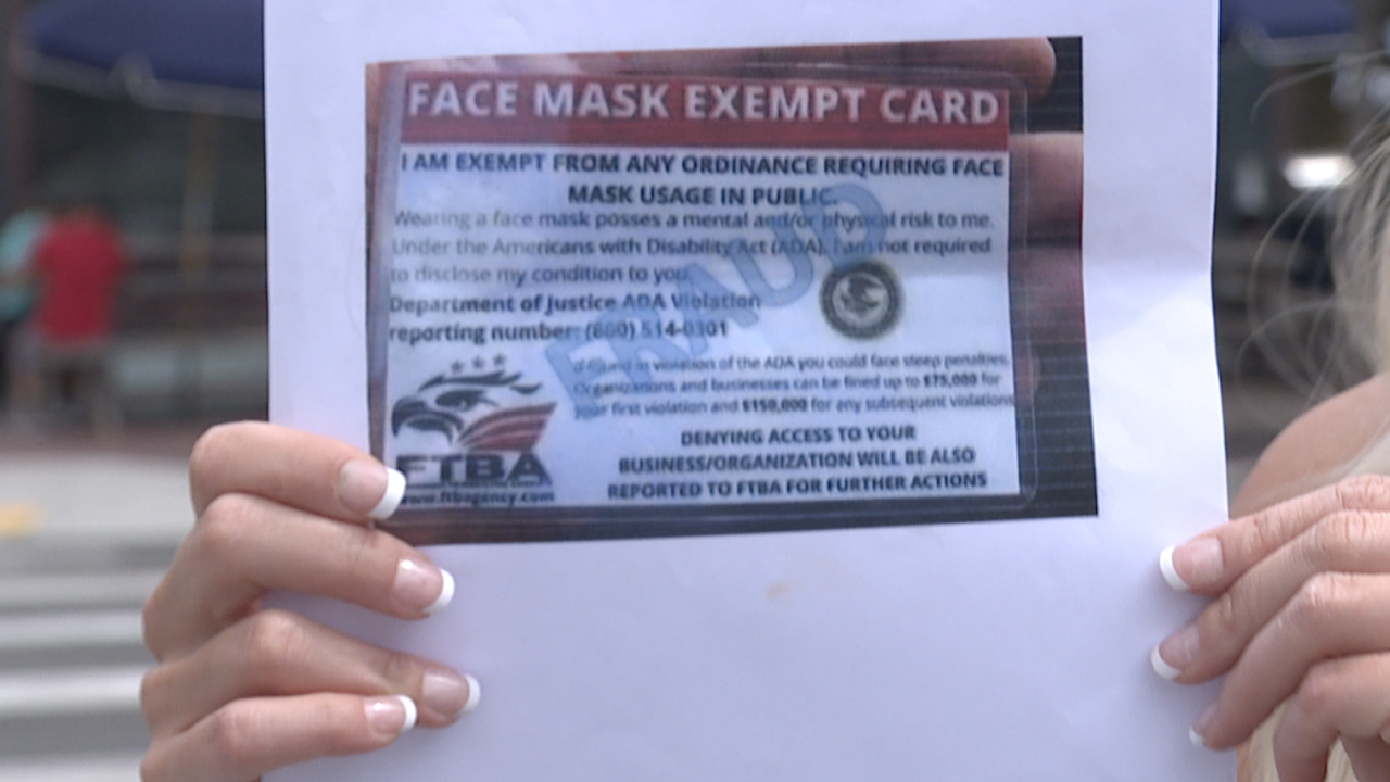 ADA face mask exempt card