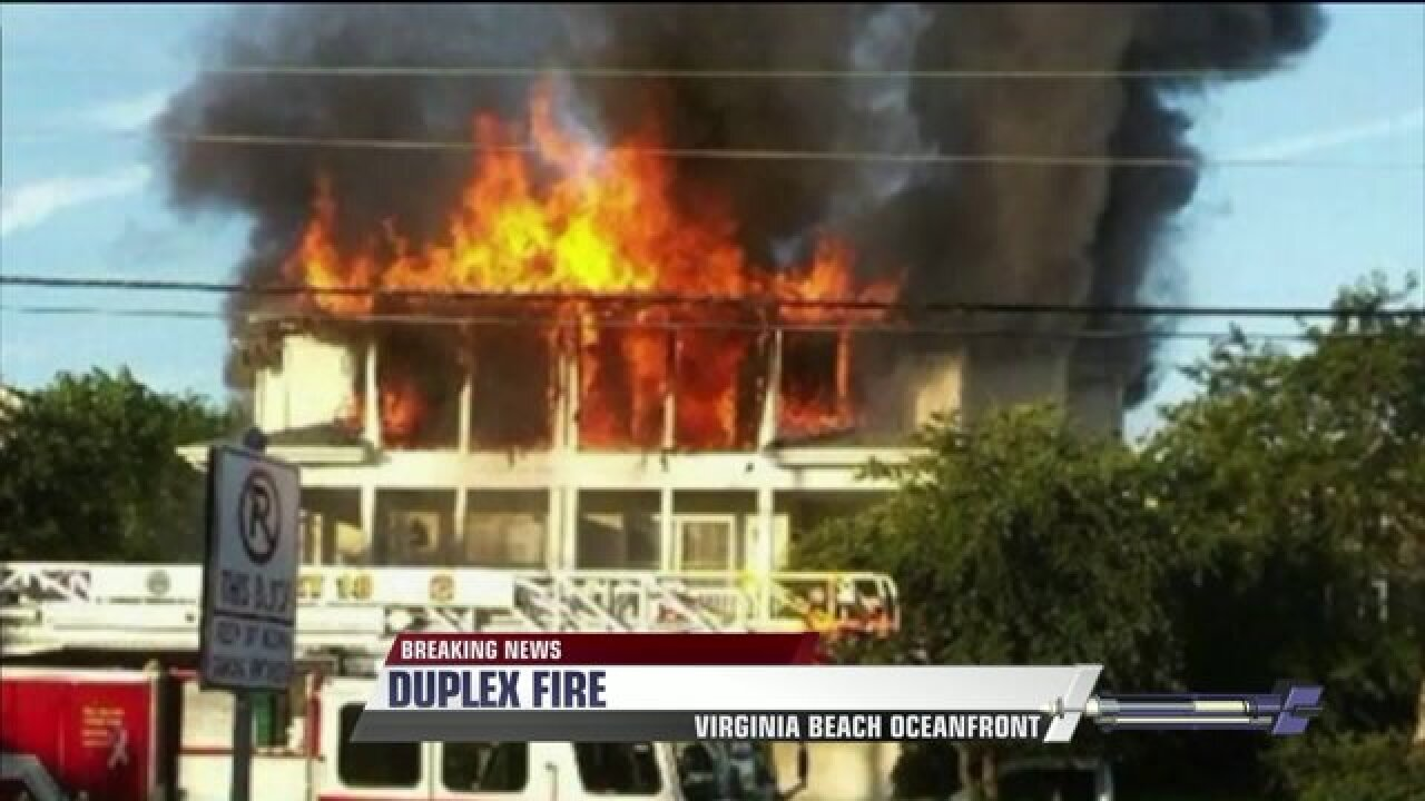 Crews fight two-alarm fire in Oceanfront duplex