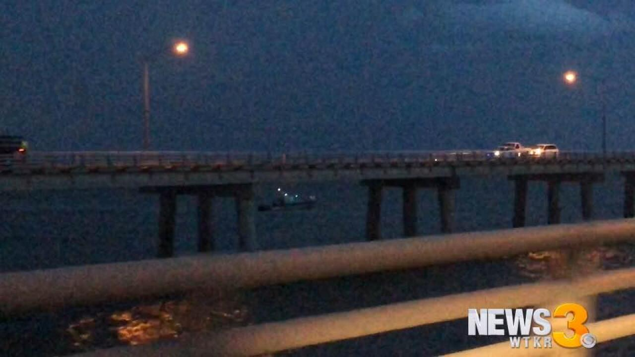 Crews searching near Chesapeake Bay Bridge-Tunnel after tractor trailer crashes into water