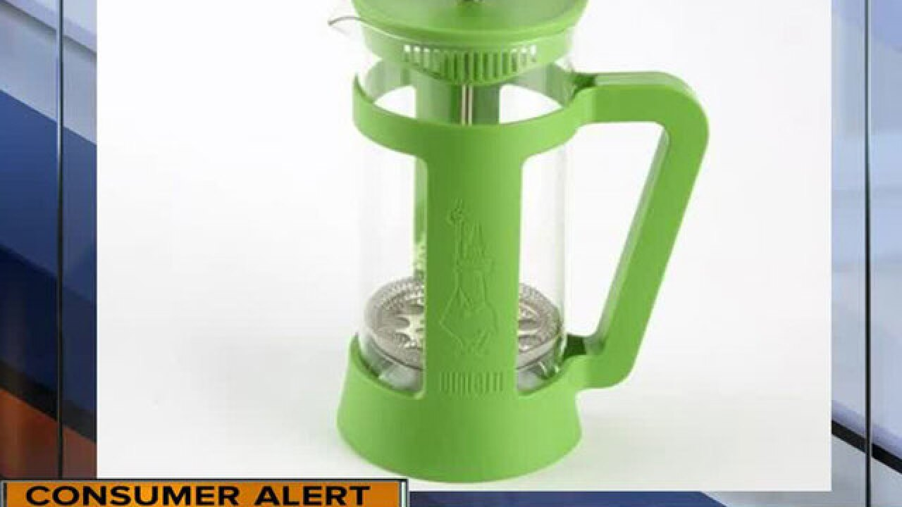 85,000 coffee presses recalled due to laceration hazard