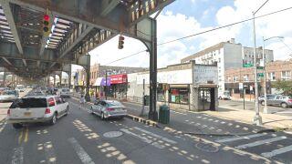Above-ground subway line in Queens
