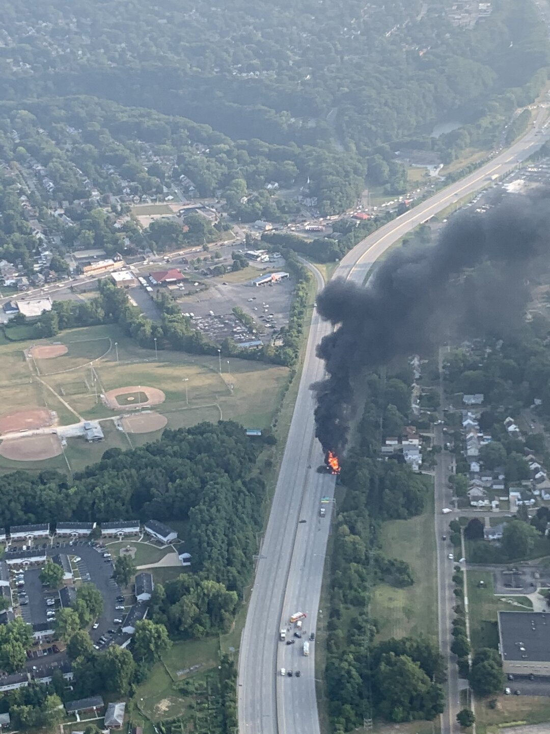 Vehicle fire closes Route 8 in both directions.