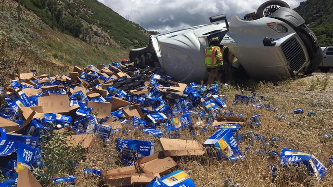 Semi carrying beer rolls in Morgan County