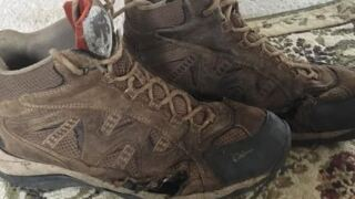 Laga's shoes are  wore out after hiking for nearly 5 days to find safety.