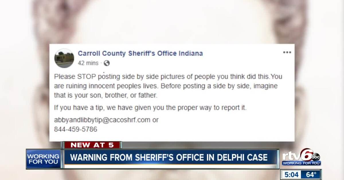 Sheriff: STOP posting side-by-sides of Delphi suspect 'you are