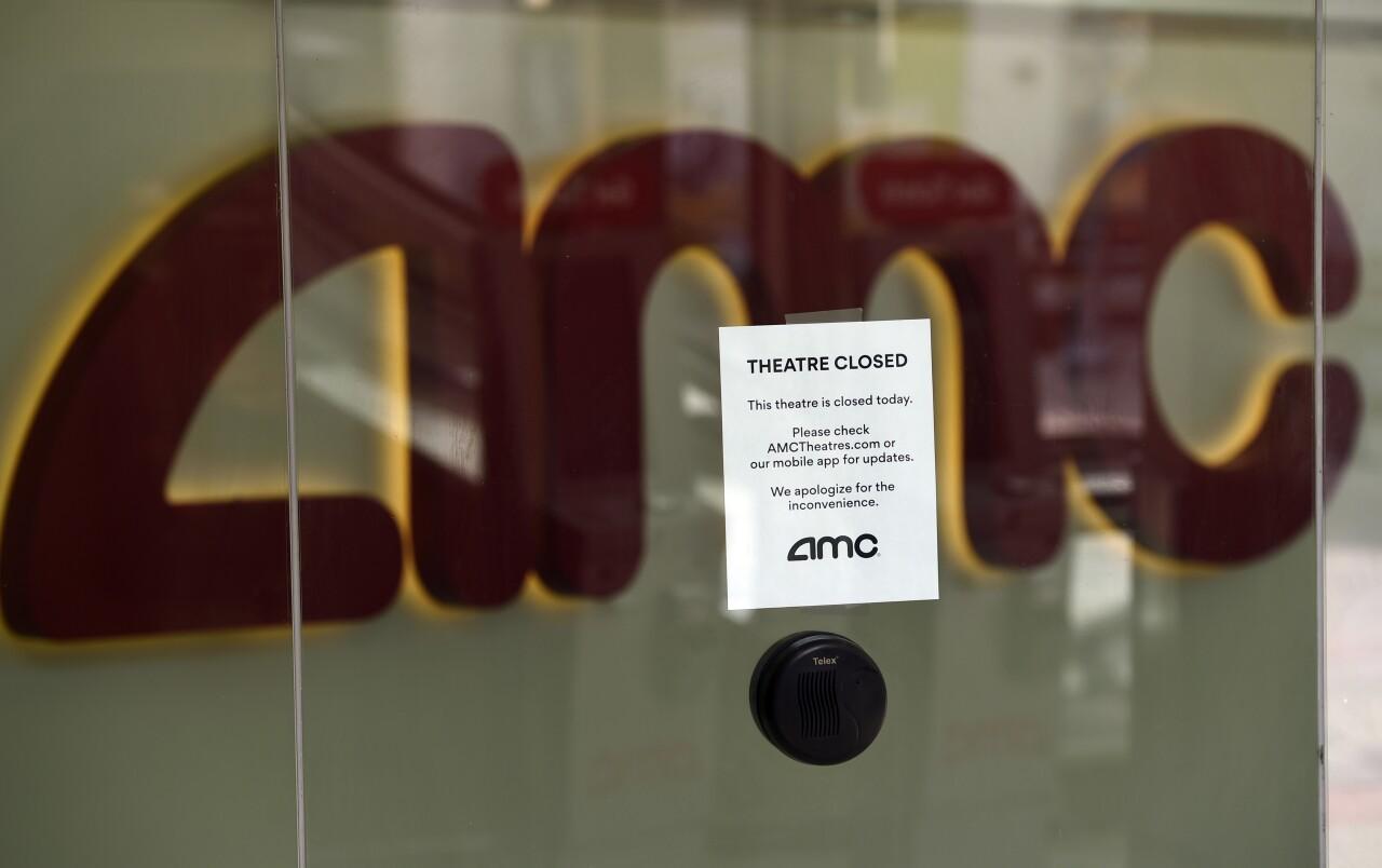 AMC Theatre ticket window closed because of coronavirus pandemic