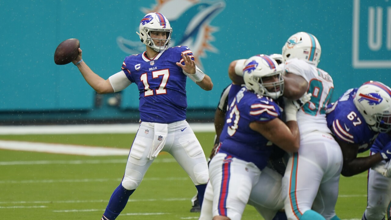 Buffalo Bills QB Josh Allen passes vs Miami Dolphins, September 2020