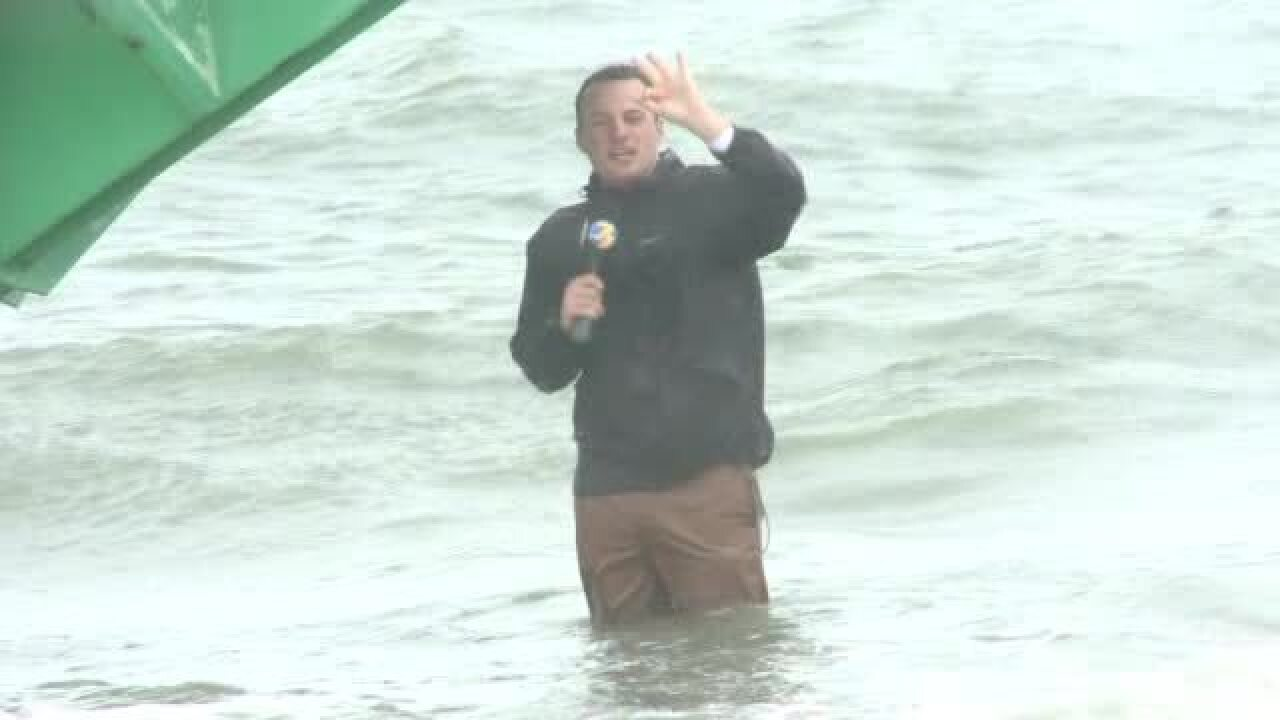 NewsChannel 3 Bloopers: Reporter struggles against huge waves